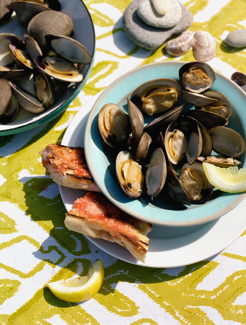 Coastal Living magazine beach cookout clams with bright yellow decor