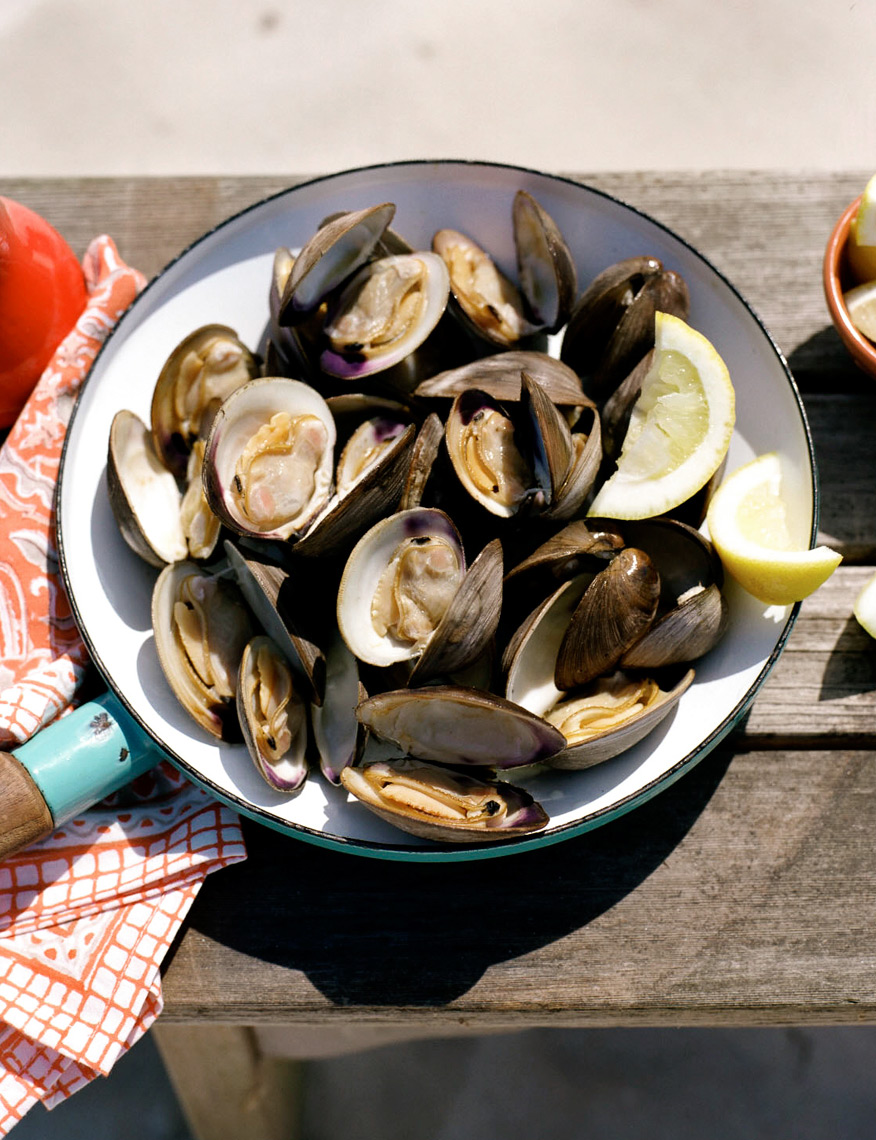 Food and entertaining by the beach clams for Coastal Living