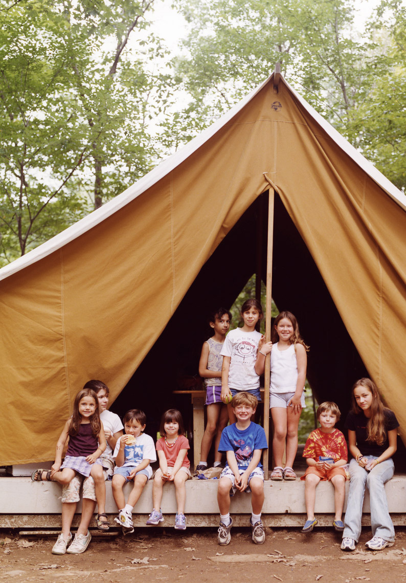 Kids in tent summer camp