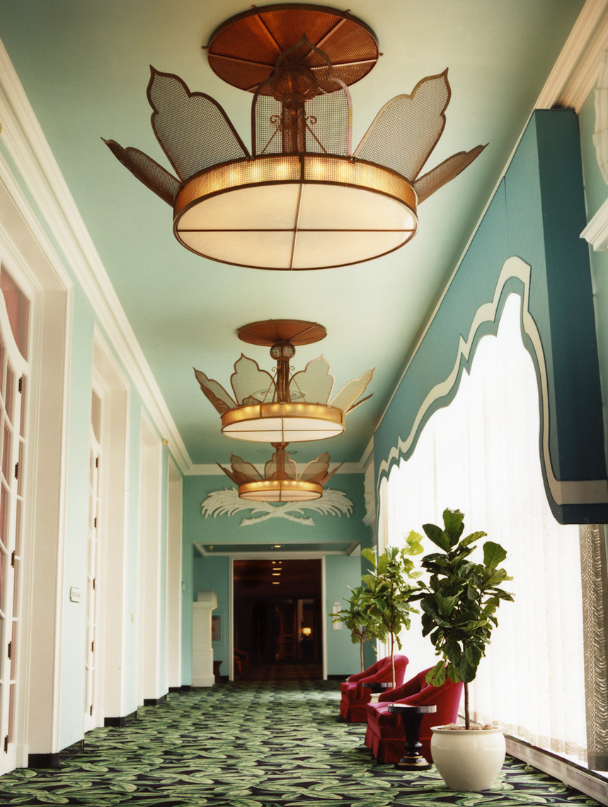 The Greenbriar hallway with dramatic chandelier