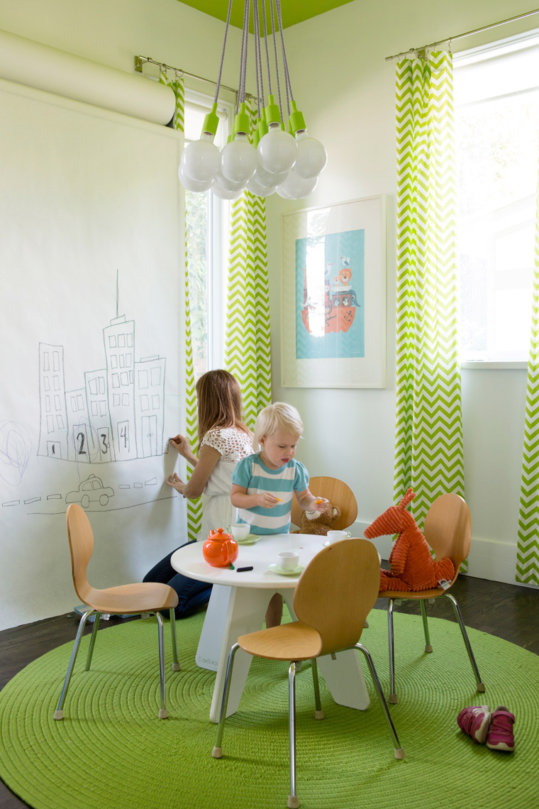 Hatch Works house with mom and daughter drawing crafts in green modern room