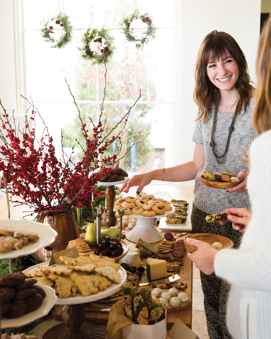 Camille Styles Entertaining cookie party with buffet and Christmas decor