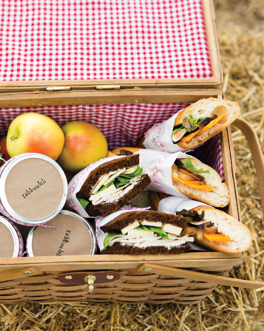 Camille Styles Entertaining book picnic fall kids party with sandwiches in vintage picnic basket