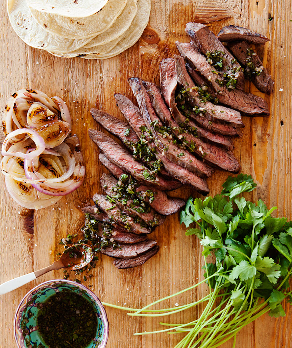 Camille Styles Entertaining book grilled steak and cilantro chimichurri sauce