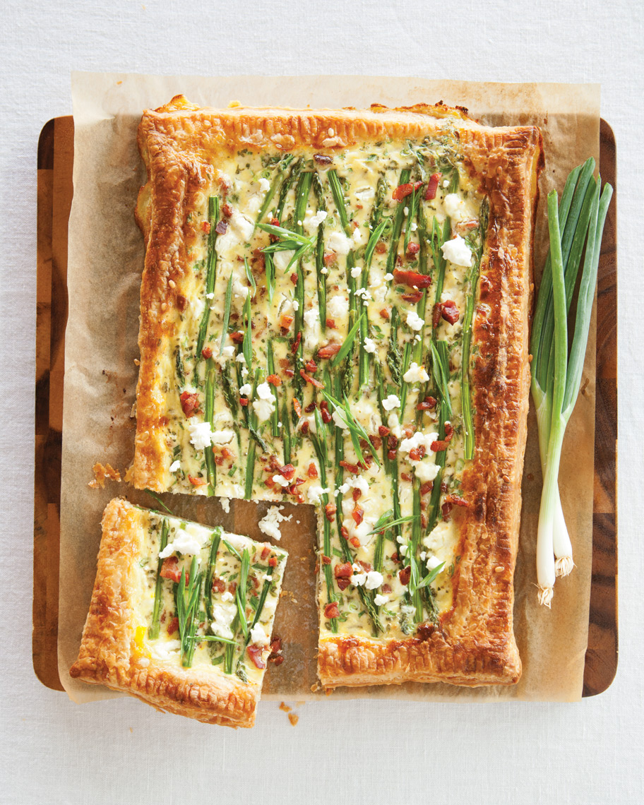 Camille Styles Entertaining book spring brunch tart with goat cheese bacon food photography
