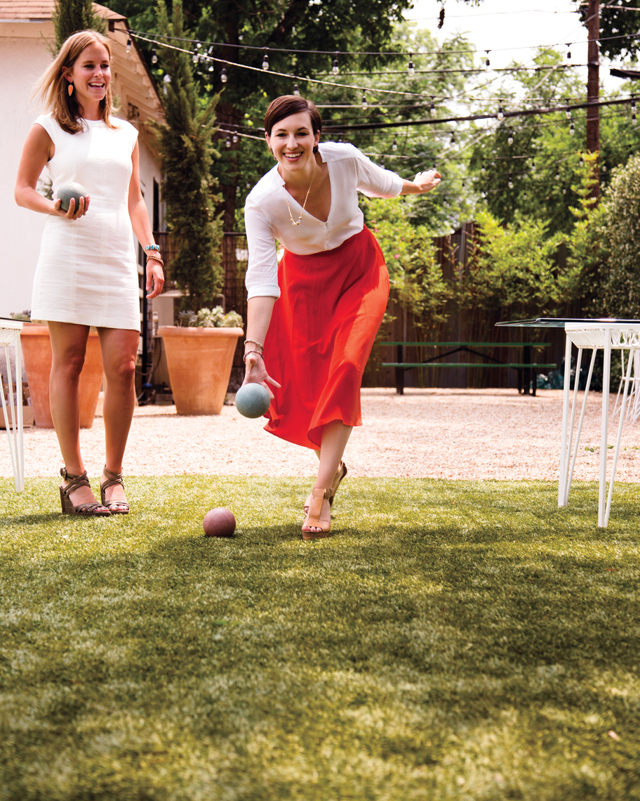 Camille Styles Entertaining Spring brunch playing bocce