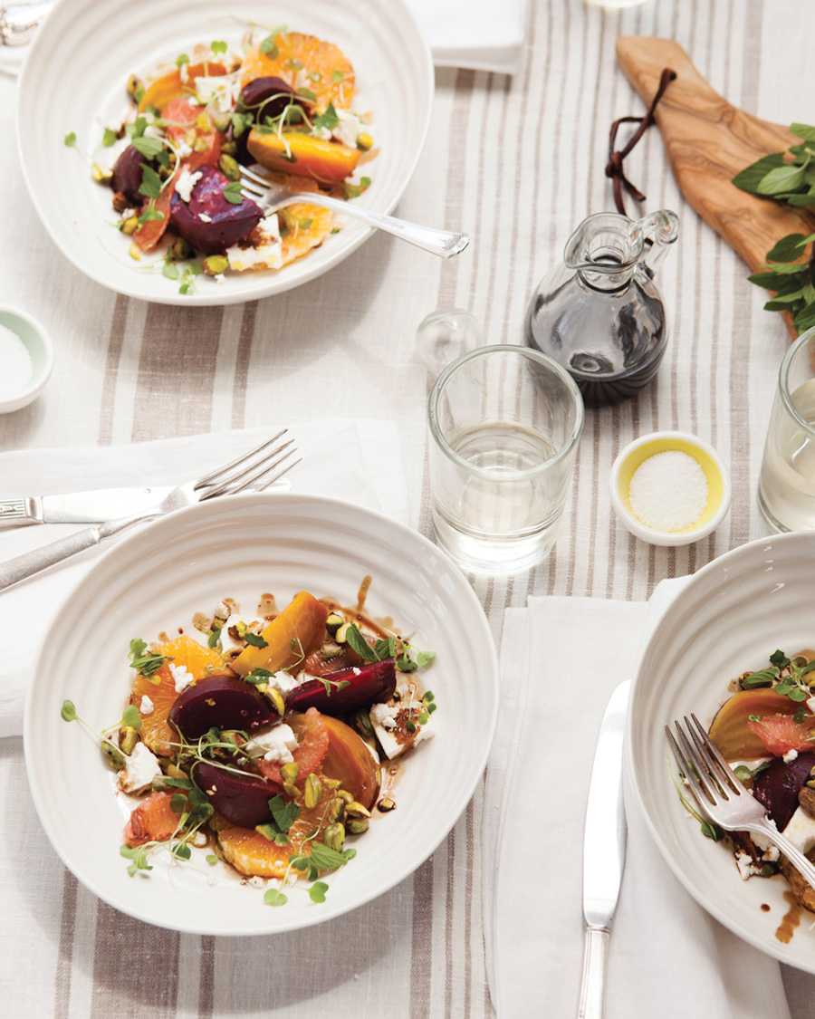 Camille Styles Entertaining book summer salads with beets and oranges and rose