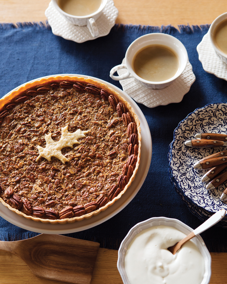 Camille Styles Entertaining book pecan pie with coffee on Anthroplogie plates