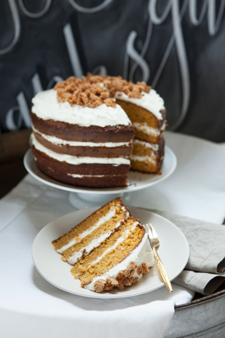 Camille Styles layer cake for Thanksgiving cream cheese frosting