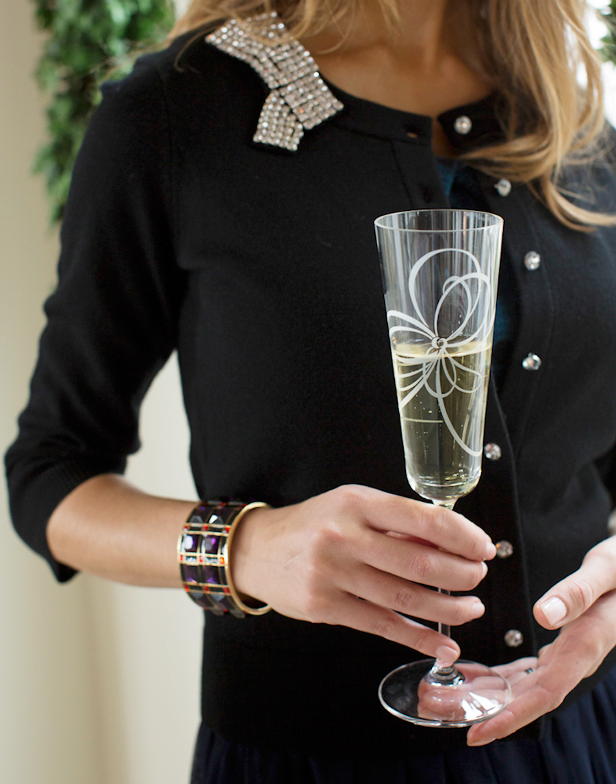 Camille Styles Christmas brunch with Kate Spade champagne glass