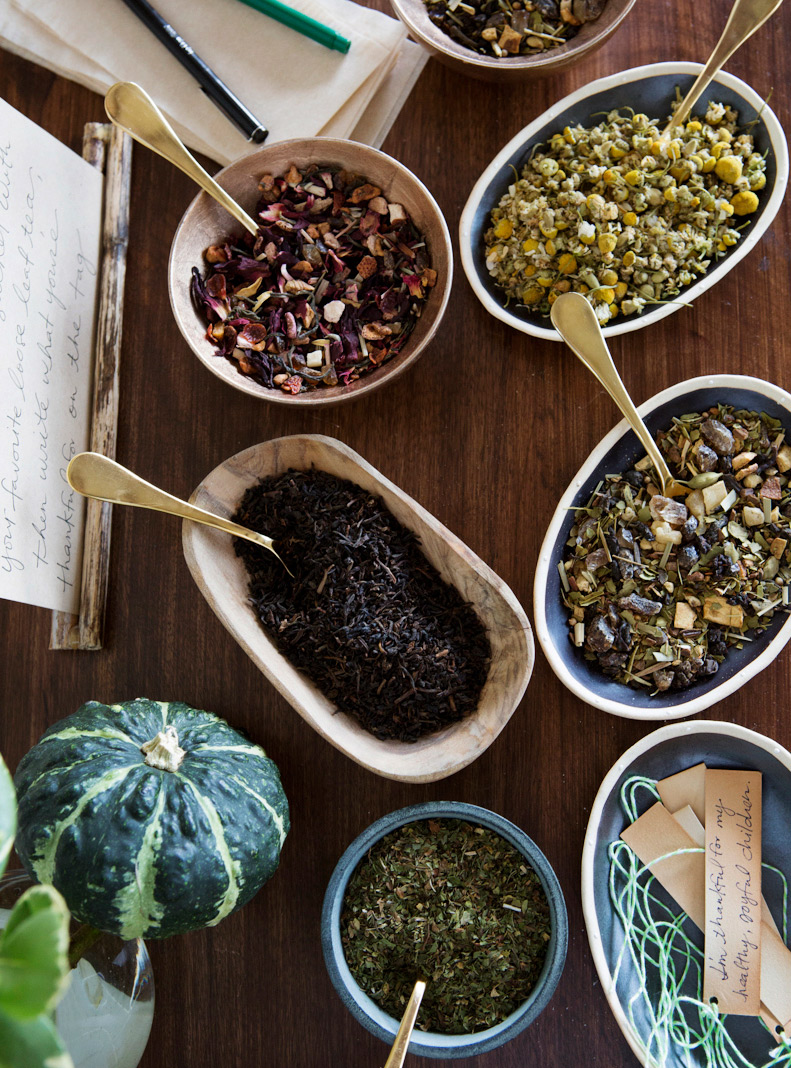 Assortment of tea leaves in dishes for Teavana