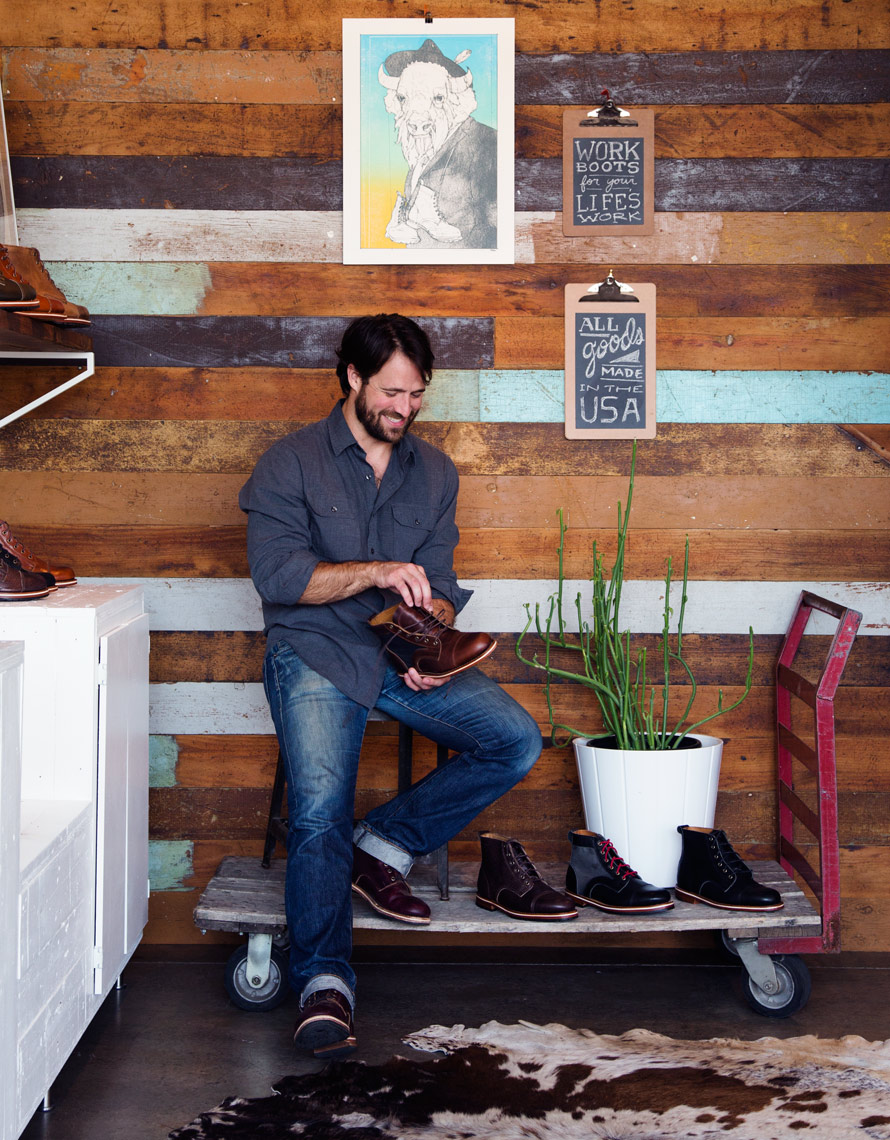 Helm Boots owner Joshua Bingham in his Austin store