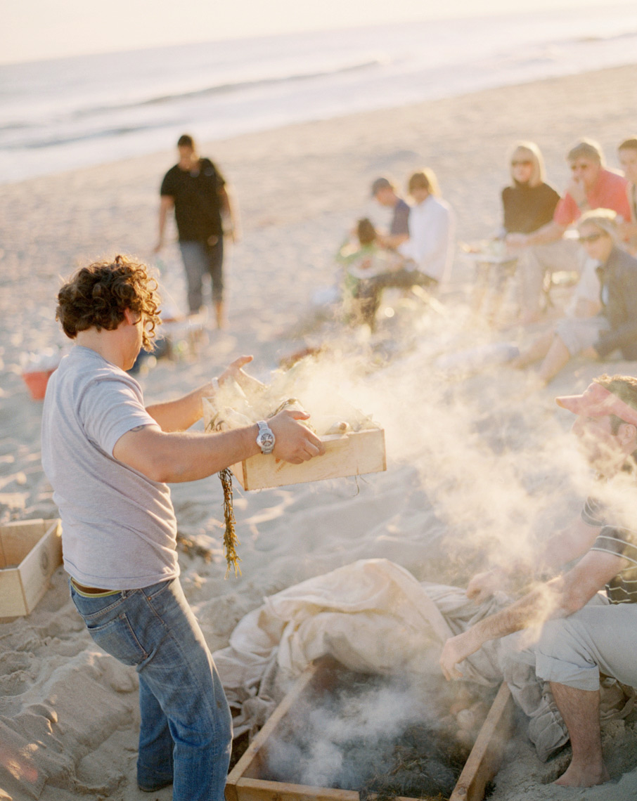 Nantucket lobster bake Food & Wine magazine on the beach