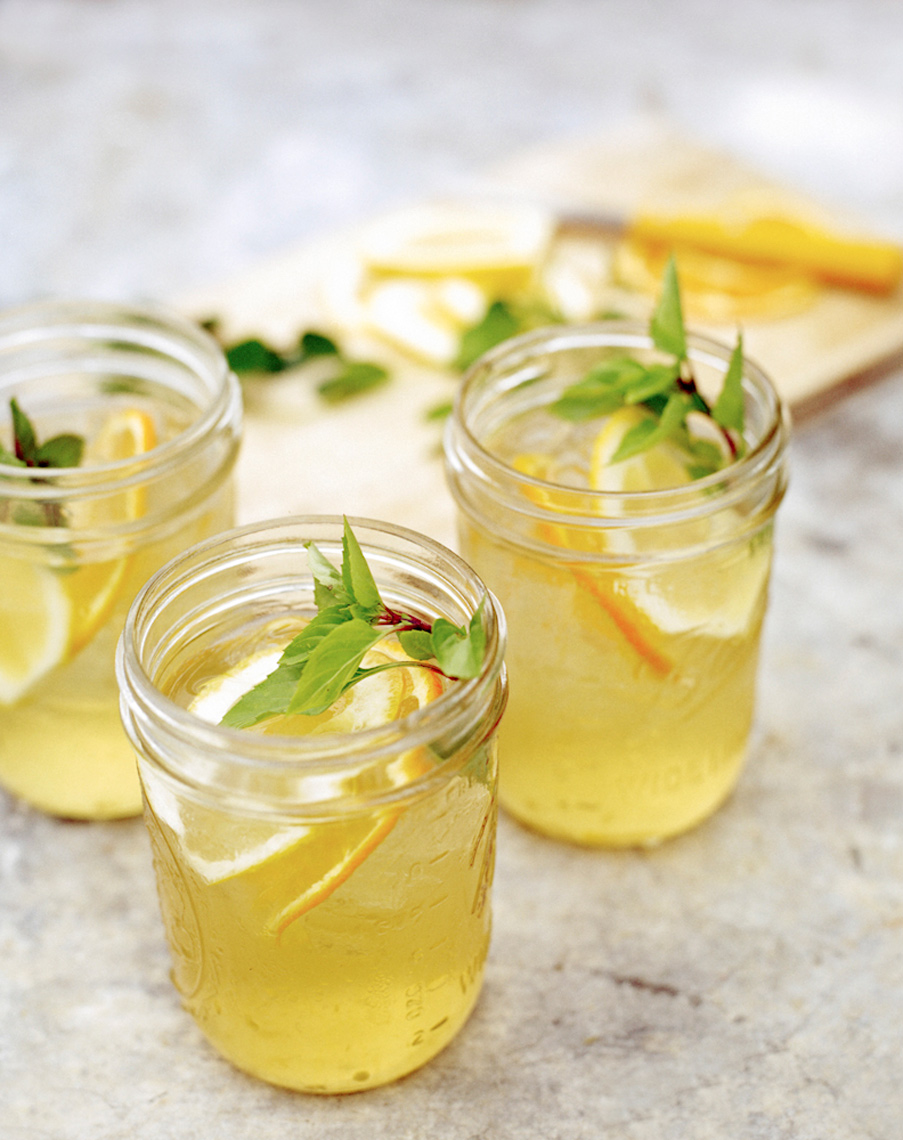 basil lemonade drink photography in ball jar glass with fresh basil for Food & Wine magazine