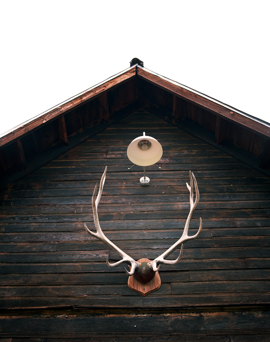 Horns atop a barn at travel story of Dunton Hot Springs Colorado
