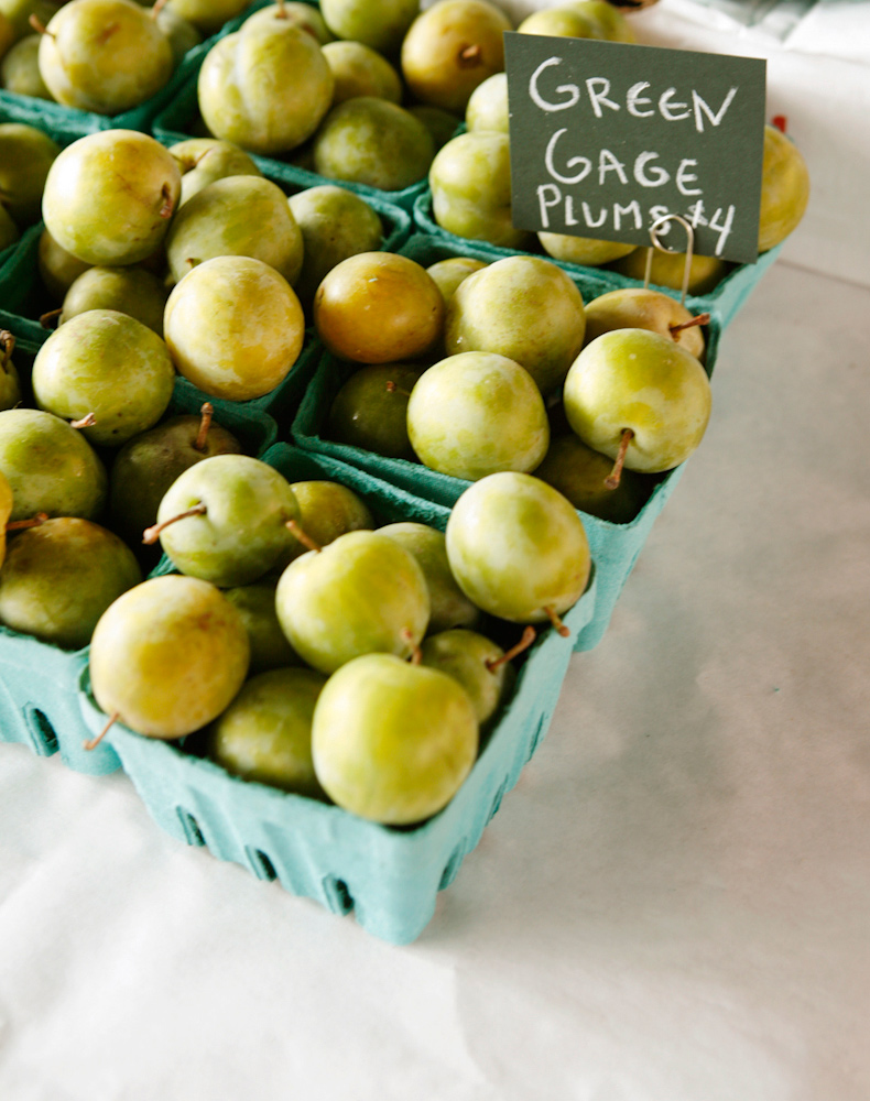 farmers market green gage plums