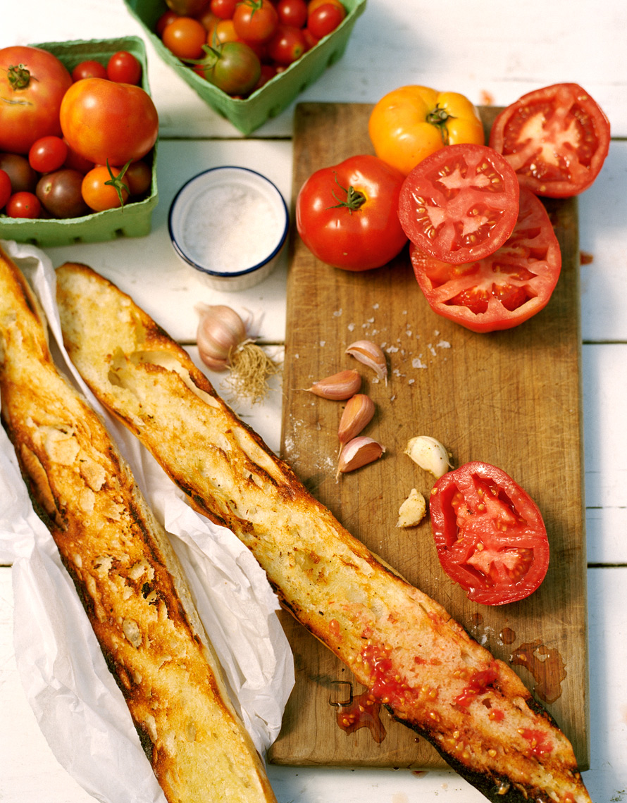 summertime treat of tomatoes and bread for Coastal Living magazine